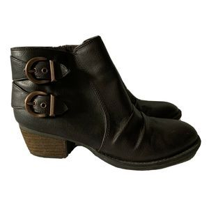 Dr. Scholls Jolted Brown Leather Buckle Ankle Boot